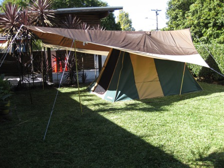 A sweet set-up -- Darche Safari Extended canvas touring tent with Darche camp shelter