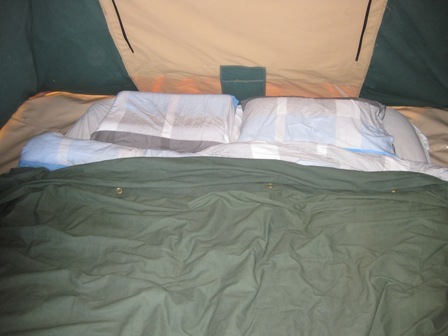 Sleeping in comfort in a tent