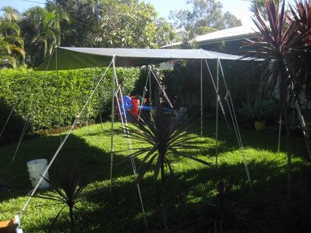 Ridge tarp setup