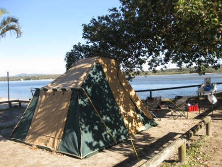 The back of a tourer tent in the Noosa River Caravan Park