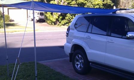 Quick Erect Awning Using A Cheap Blue Tarp