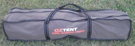The Oztent King Goanna Chair is bulky when packed in its bag