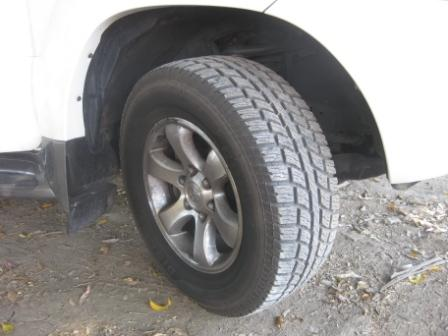 Cooper Tires ATR fitted to front wheel of Toyota Prado