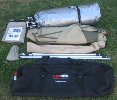 What's in the BlackWolf Turbo Plus 240 tent bag (the awning side panels are optional extras)