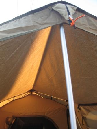Awning ridge pole supports the larger awning of the new BlackWolf Turbo Plus 240 tent