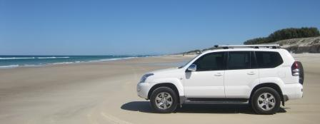 My Toyota Prado fitted with Cooper Tires ATRs on Main Beach, Stradbroke Island